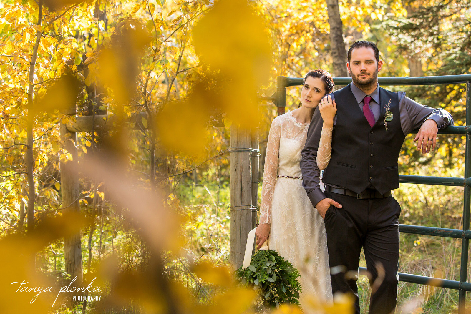 bride and groom leaning on large metal gate around fall foliage at Gladstone Mountain Ranch