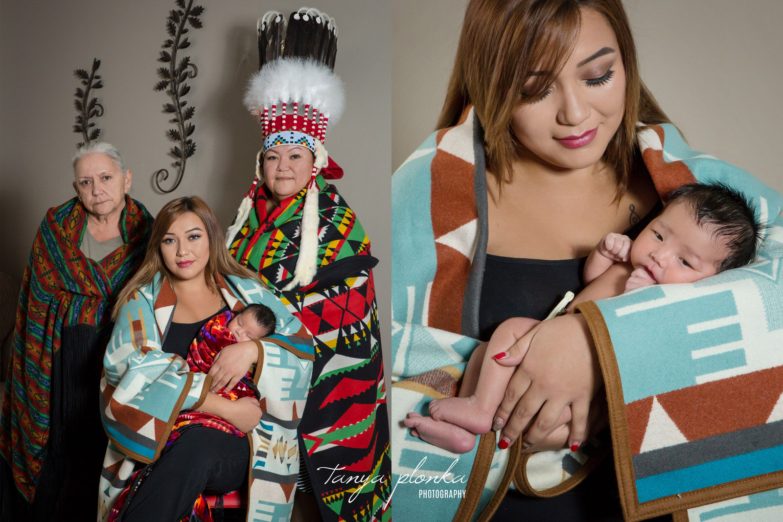 newborn baby poses with mother, grandmother, and great grandmother wearing traditional First Nations clothing