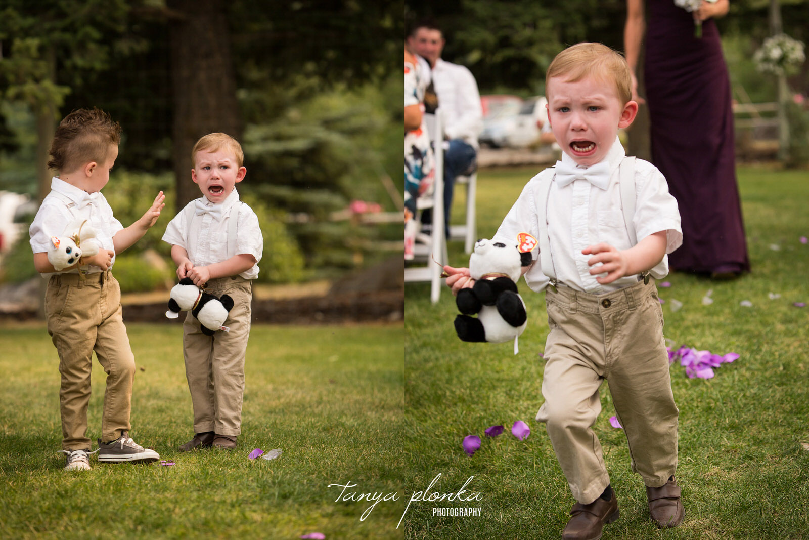 crying ring bearer runs down aisle at Springbreak Flower Farm in the Crowsnest Pass