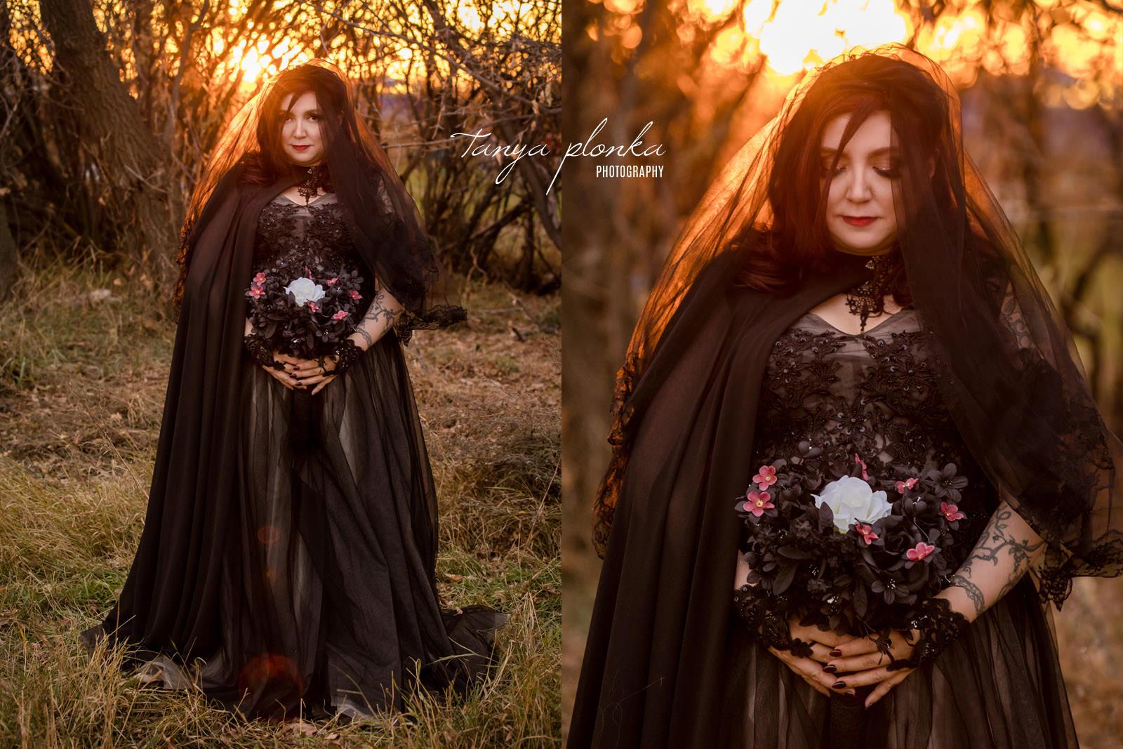 Halloween bride in black dress