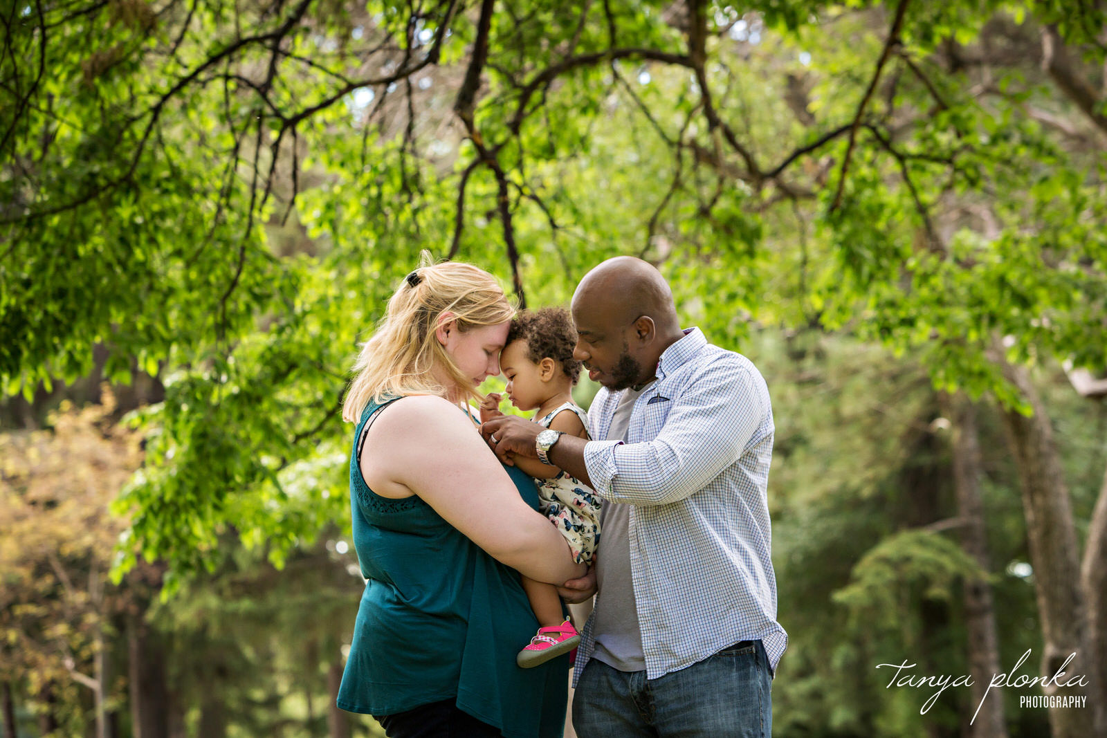 parents snuggle young daughter in the trees at Henderson Lake