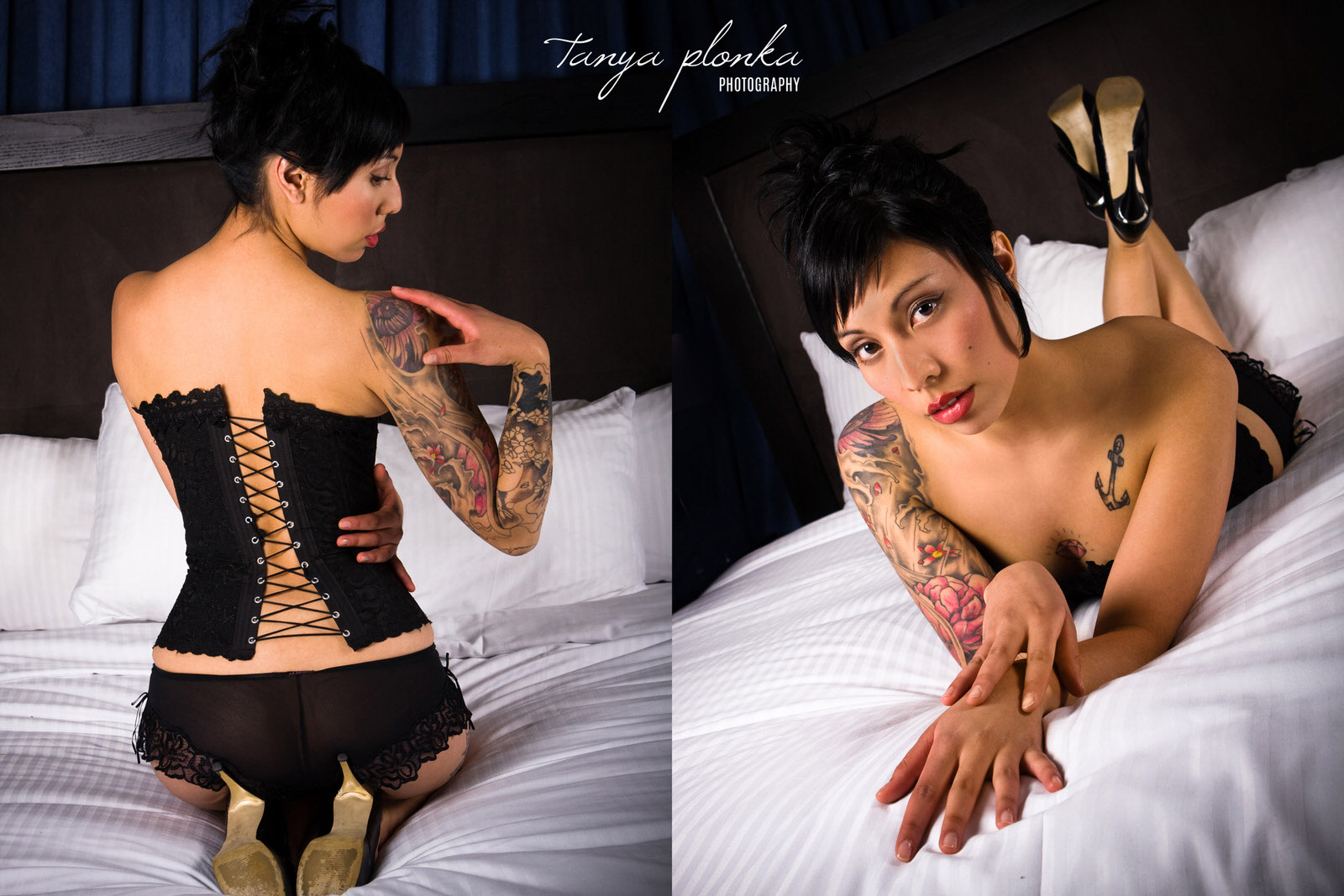 woman with tattoos and black corset sits on hotel room bed