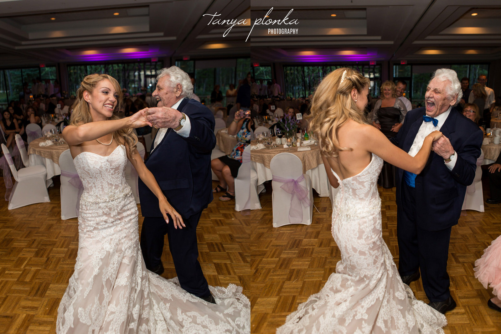 bride dances with laughing grandfather at her Kananskis Delta Lodge wedding reception