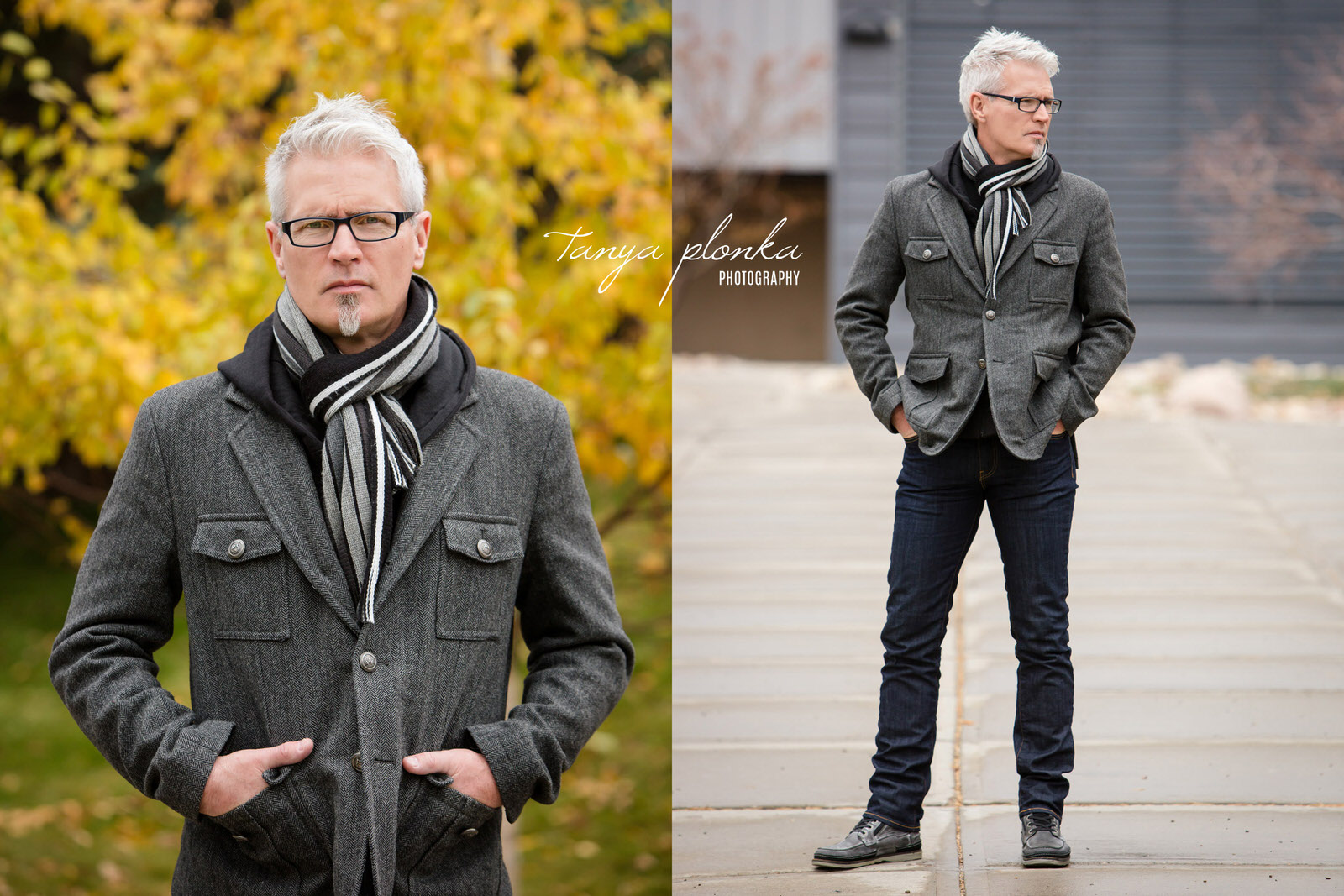 male model in gray wool coat poses at University of Lethbridge