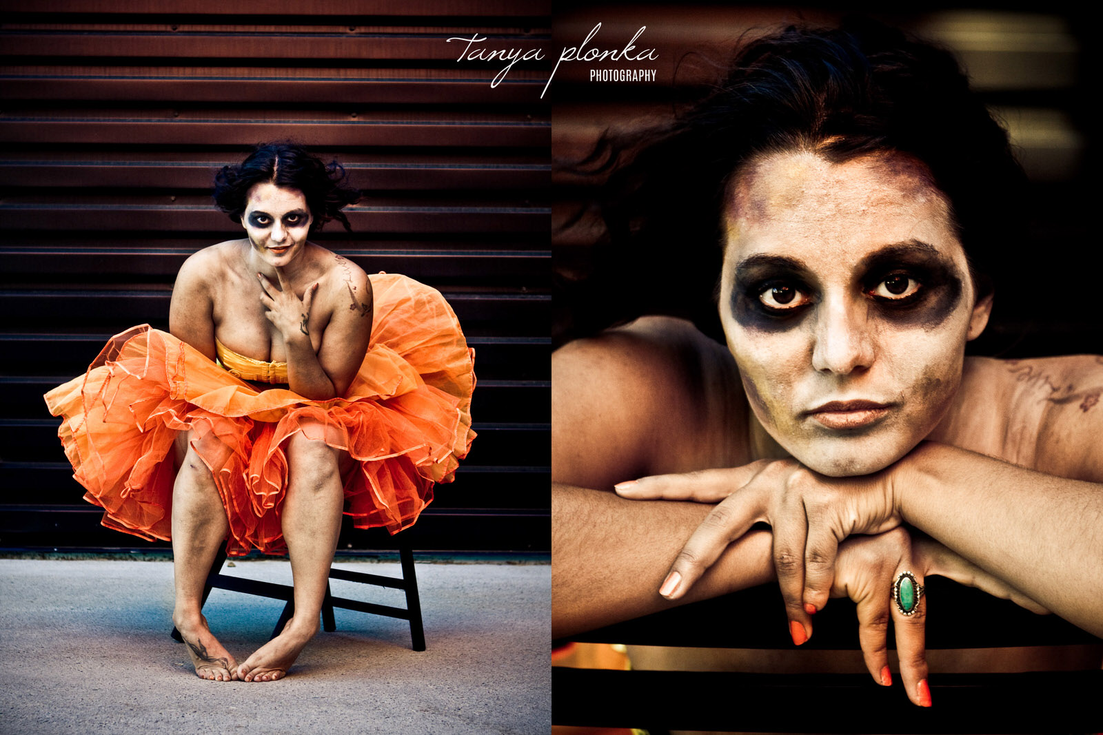 zombie model in poofy orange dress sitting on chair