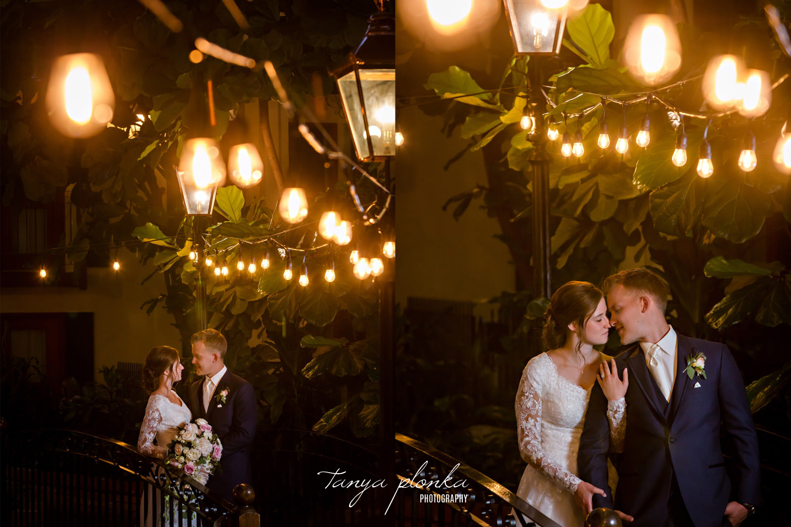 two photos of bride and groom in Sandman Signature Hotel lobby at night with lights in foreground