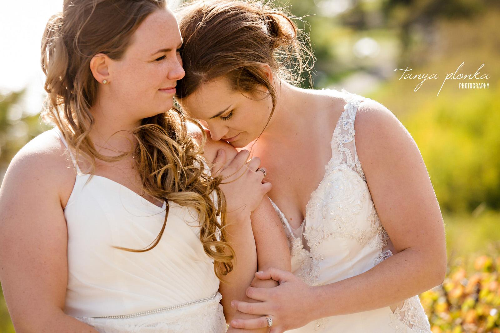 close up of brides snuggling